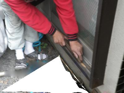 底取り鉋、木製雨戸レール修理